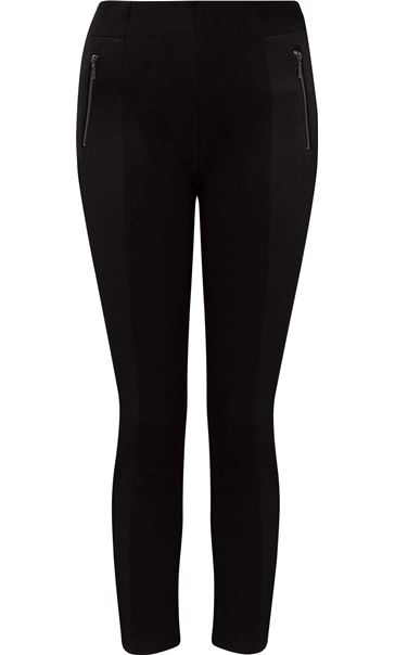 Panelled Stretch Treggings Black