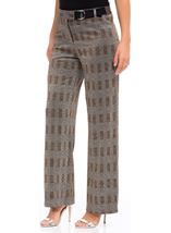 Checked Wide Leg Trousers Black/Copper - Gallery Image 1