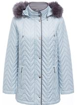 Anna Rose Faux Fur Trim Quilted Coat Pale Blue - Gallery Image 1