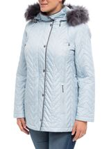Anna Rose Faux Fur Trim Quilted Coat Pale Blue - Gallery Image 2