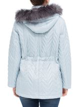 Anna Rose Faux Fur Trim Quilted Coat Pale Blue - Gallery Image 3