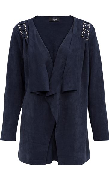 Faux Suedette Long Sleeve Jacket Navy