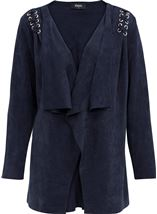Faux Suedette Long Sleeve Jacket Navy - Gallery Image 1