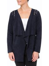 Faux Suedette Long Sleeve Jacket Navy - Gallery Image 2