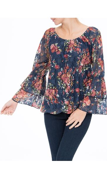 Floral Lace Layered Long Sleeve Top Midnight/Shrimp