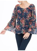 Floral Lace Layered Long Sleeve Top Midnight/Shrimp - Gallery Image 1