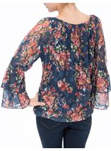 Floral Lace Layered Long Sleeve Top Midnight/Shrimp - Gallery Image 3