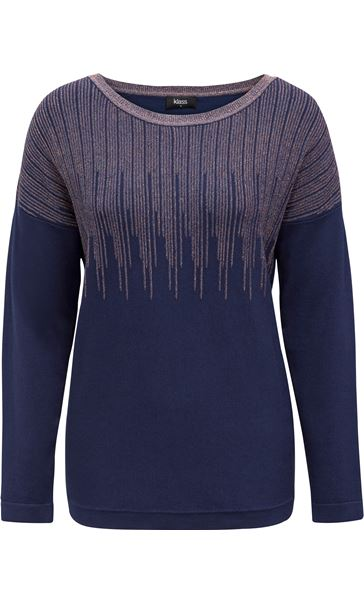 Long Sleeve Metallic Knit Top Midnight/Copper