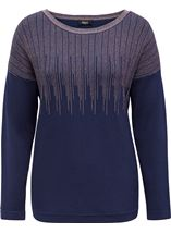 Long Sleeve Metallic Knit Top Midnight/Copper - Gallery Image 1