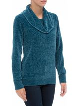 Cowl Neck Long Sleeve Chenille Top Blue - Gallery Image 2