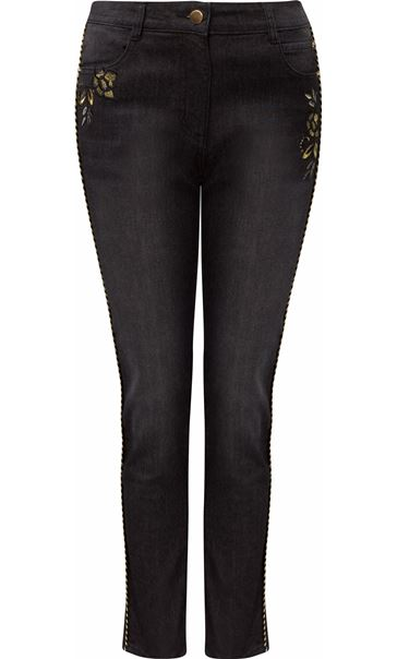 Embroidered Relaxed Skinny Jeans Black