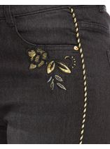Embroidered Relaxed Skinny Jeans Black - Gallery Image 4