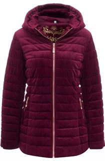 Quilted Velvet Zip Coat - Wine