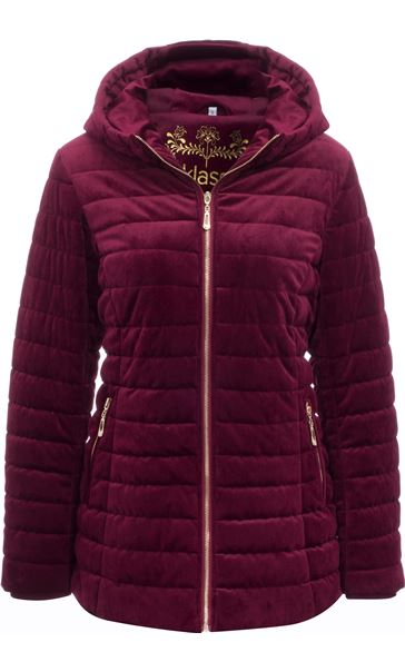 Quilted Velvet Zip Coat Wine