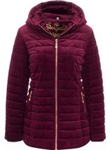 Quilted Velvet Zip Coat Wine - Gallery Image 1