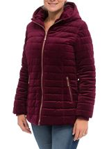 Quilted Velvet Zip Coat Wine - Gallery Image 2