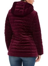 Quilted Velvet Zip Coat Wine - Gallery Image 3