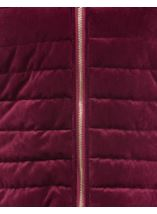 Quilted Velvet Zip Coat Wine - Gallery Image 4