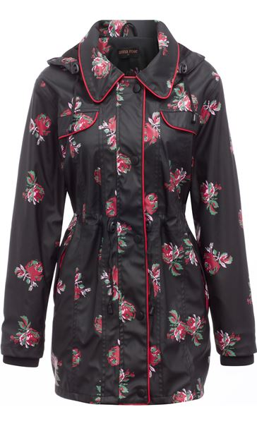Anna Rose Printed Waterproof Coat Black Floral