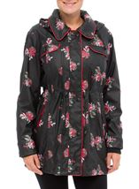 Anna Rose Printed Waterproof Coat Black Floral - Gallery Image 2