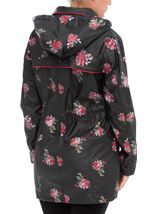 Anna Rose Printed Waterproof Coat Black Floral - Gallery Image 3