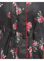 Anna Rose Printed Waterproof Coat Black Floral - Gallery Image 4
