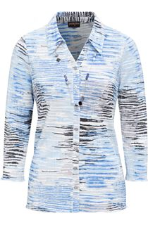 Anna Rose Printed Pleat Blouse With Necklace - Blues