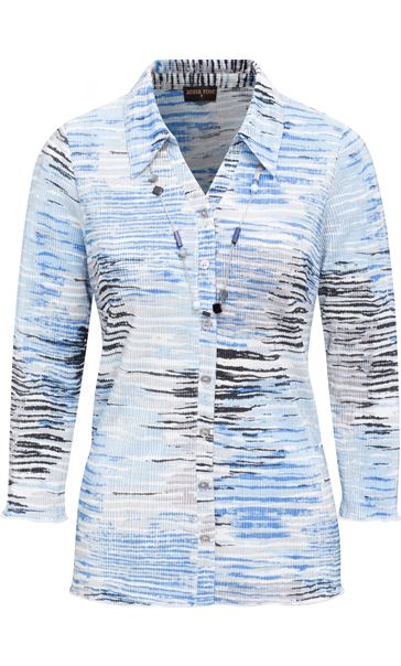 Anna Rose Printed Pleat Blouse With Necklace Blue