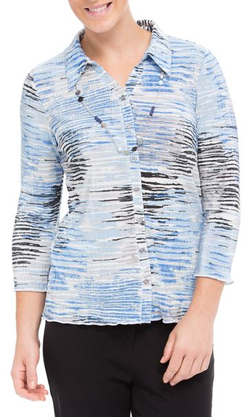 Anna Rose Printed Pleat Blouse With Necklace Blue - Gallery Image 2