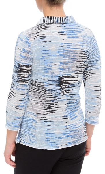 Anna Rose Printed Pleat Blouse With Necklace Blue - Gallery Image 3