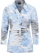 Anna Rose Printed Pleat Blouse With Necklace Blue - Gallery Image 1