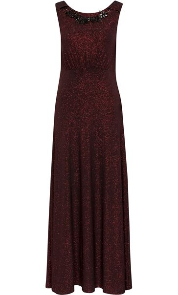 Sleeveless Glitter Maxi Dress With Necklace Black/Red