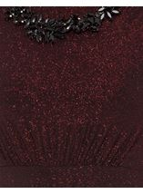 Sleeveless Glitter Maxi Dress With Necklace Black/Red - Gallery Image 4