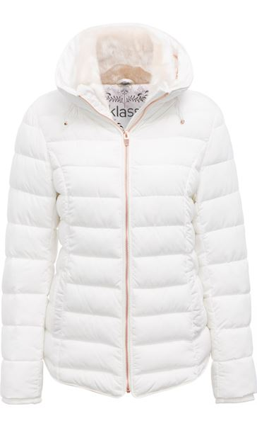 Faux Fur Trimmed Padded Coat Winter White