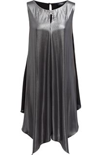 Asymmetric Shimmer Sleeveless Midi Dress