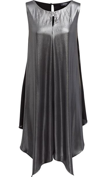 Asymmetric Shimmer Sleeveless Midi Dress Black/Silver