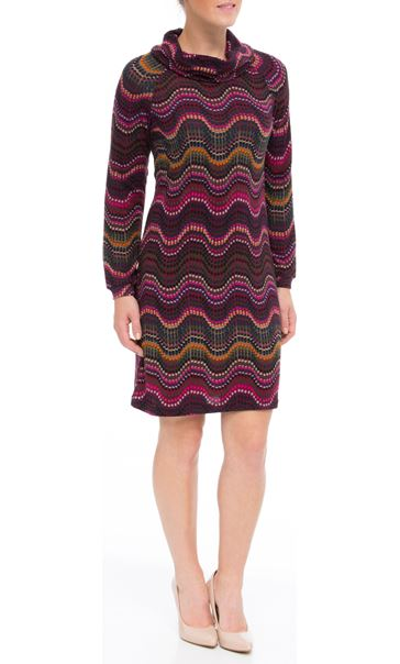 Long Sleeve Brushed Knit Print Midi Dress Merlot/Pesto