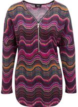 Long Sleeve Brushed Knit Print Tunic