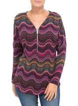 Long Sleeve Brushed Knit Print Tunic Merlot/Pesto - Gallery Image 2