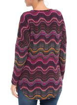 Long Sleeve Brushed Knit Print Tunic Merlot/Pesto - Gallery Image 3
