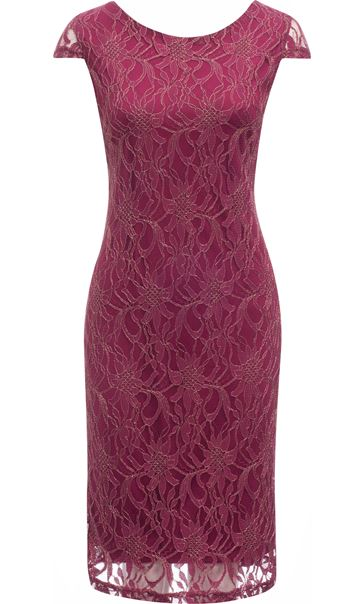Fitted Lace Shift Dress Merlot/Gold