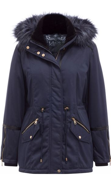 Faux Fur Trim Coat Navy