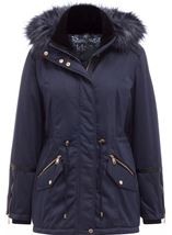 Faux Fur Trim Coat Navy - Gallery Image 1