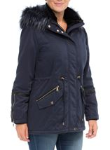 Faux Fur Trim Coat Navy - Gallery Image 2