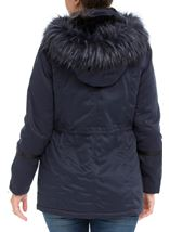 Faux Fur Trim Coat Navy - Gallery Image 3