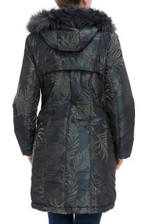 Leaf Print Hooded Coat