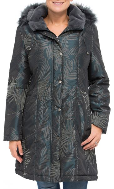 Leaf Print Hooded Coat Petrol/Grey