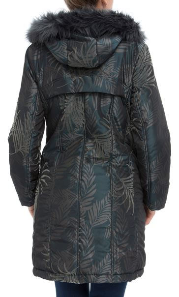 Leaf Print Hooded Coat Petrol/Grey - Gallery Image 2