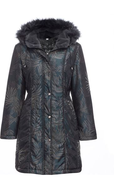 Leaf Print Hooded Coat Petrol/Grey - Gallery Image 3