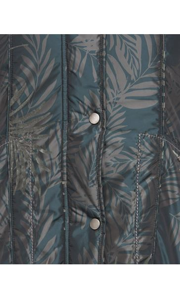 Leaf Print Hooded Coat Petrol/Grey - Gallery Image 4